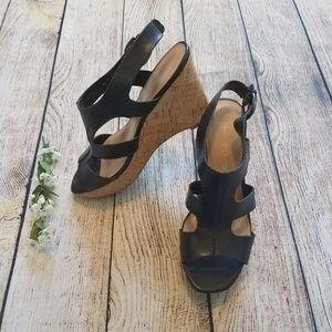 Franco Sarto Black Wedge Sandal